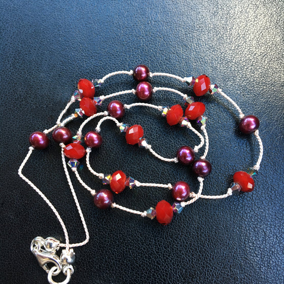 Claret Pearl, Scarlet Glass and Crystal Dotted Necklace