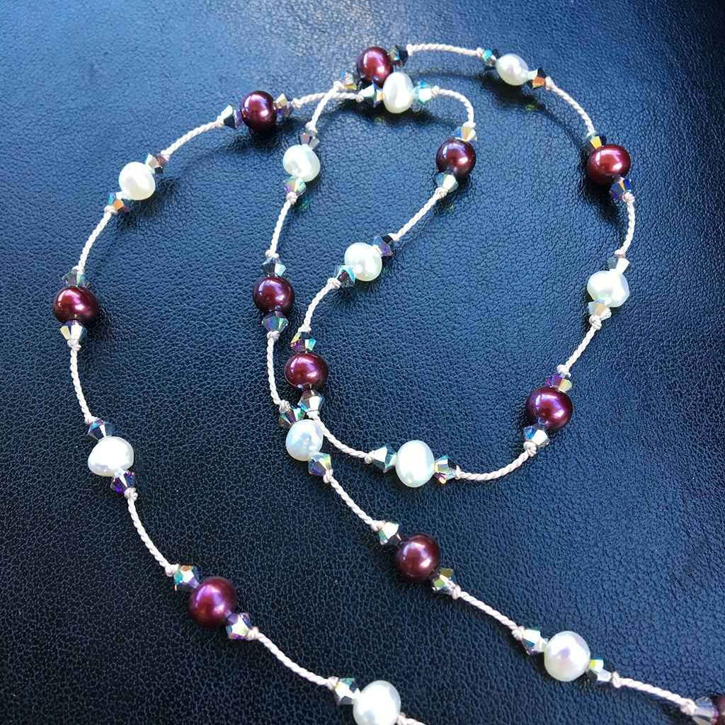 Claret Pearl and Crystal Dotted Necklace