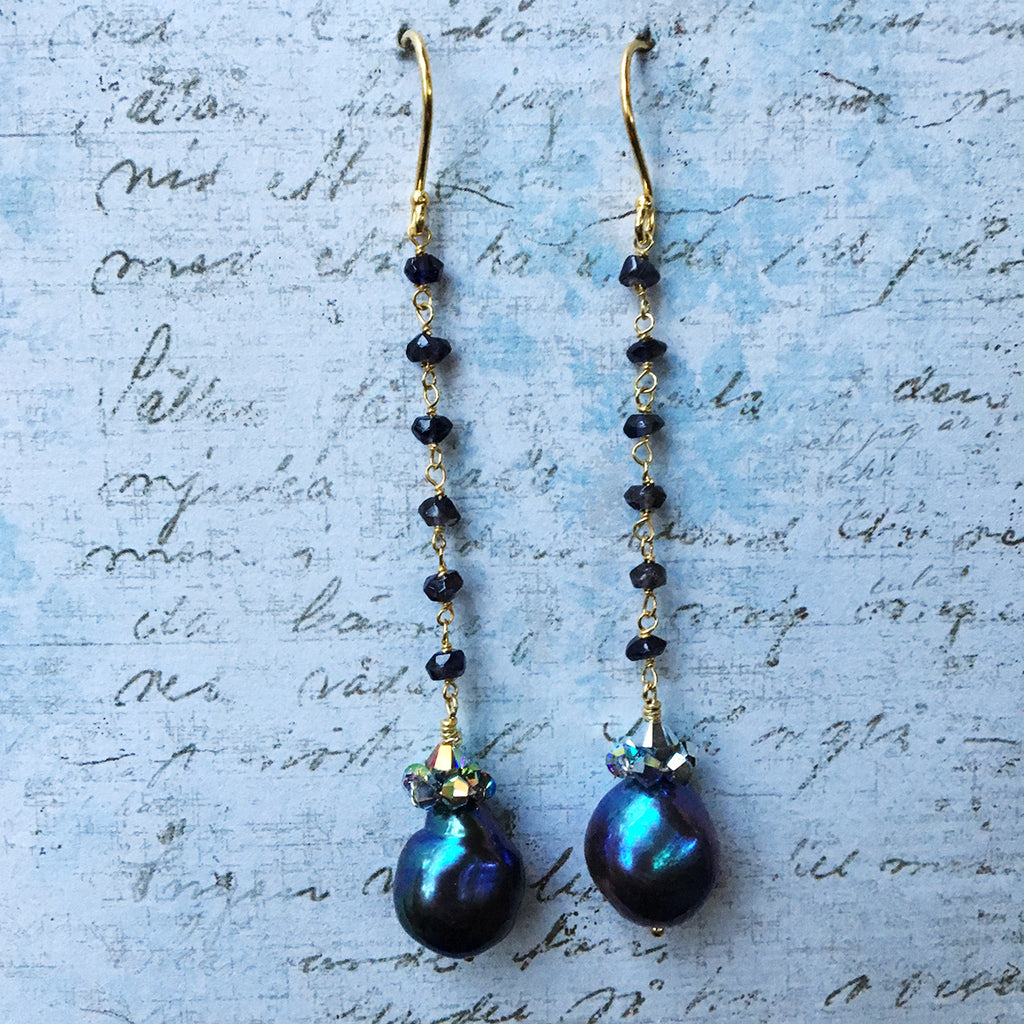 Collared Dark Pearl Earrings on Iolite Chain