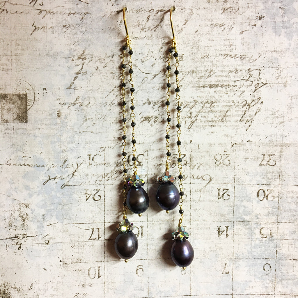 Collared Double Dark Pearl Earrings on Haematite Chain