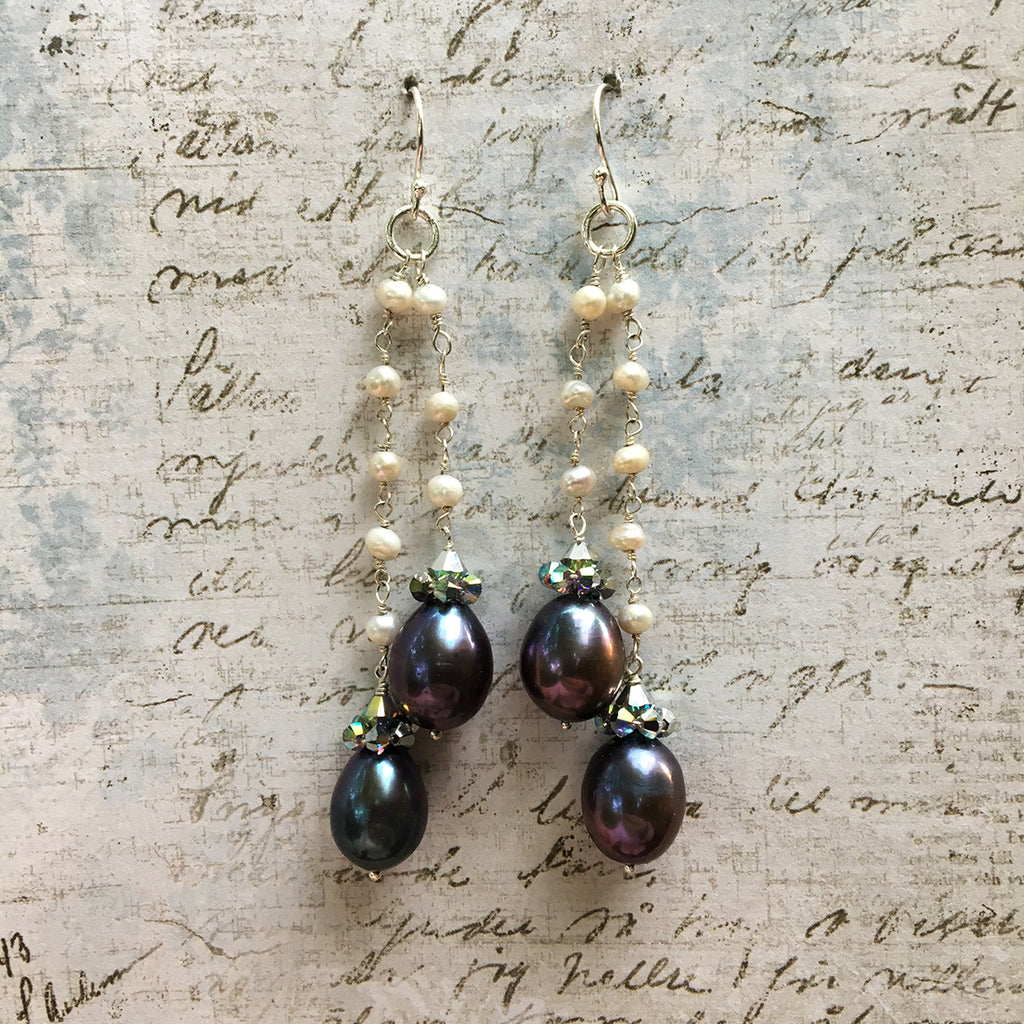 Collared Double Dark Pearl Earrings on Pearl Chain