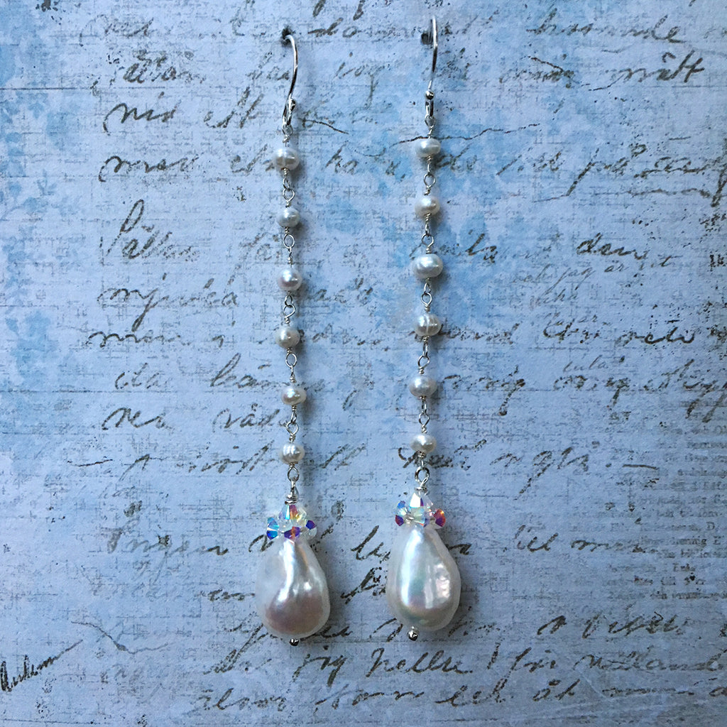 Collared Pearl Earrings on Pearl Chain