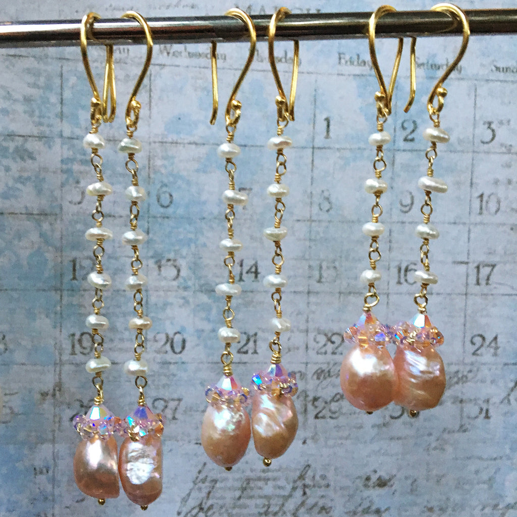 Collared Pink Pearl Earrings on Pearl Chain
