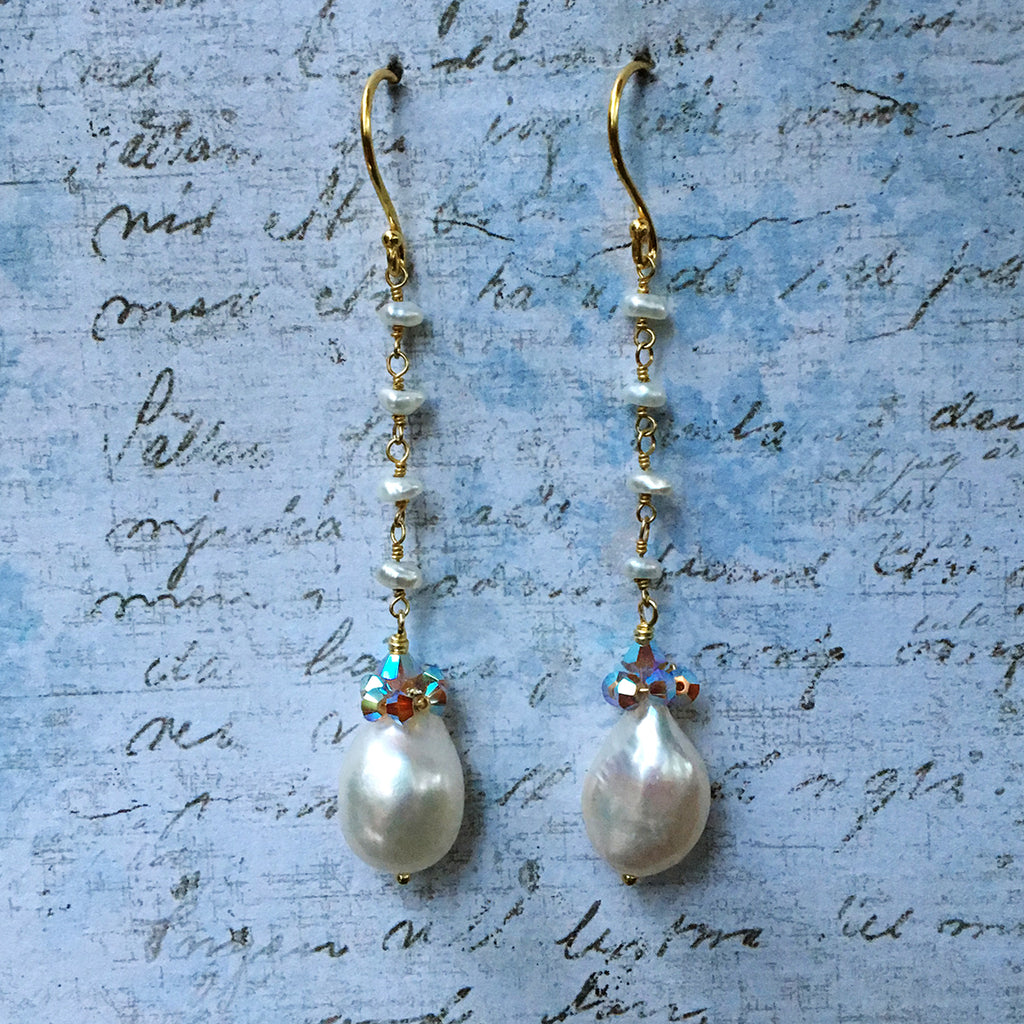 Collared White Pearl Earrings on Pearl Chain
