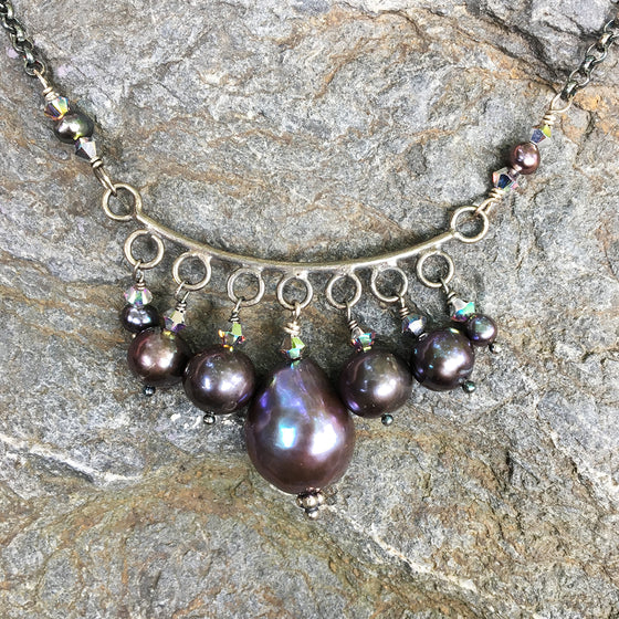 Crescent of Dark Pearls Necklace