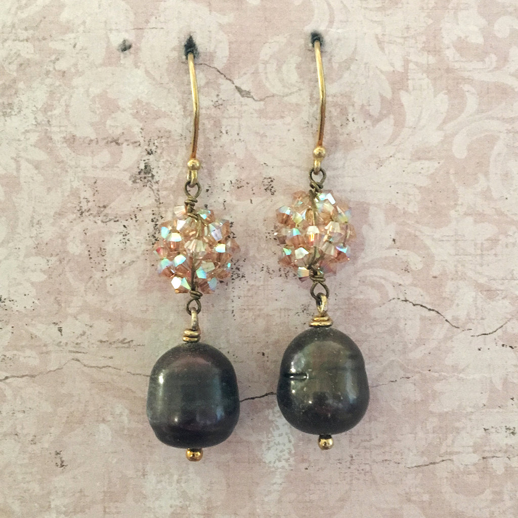 Crystal Cluster and Drop Pearl Earrings