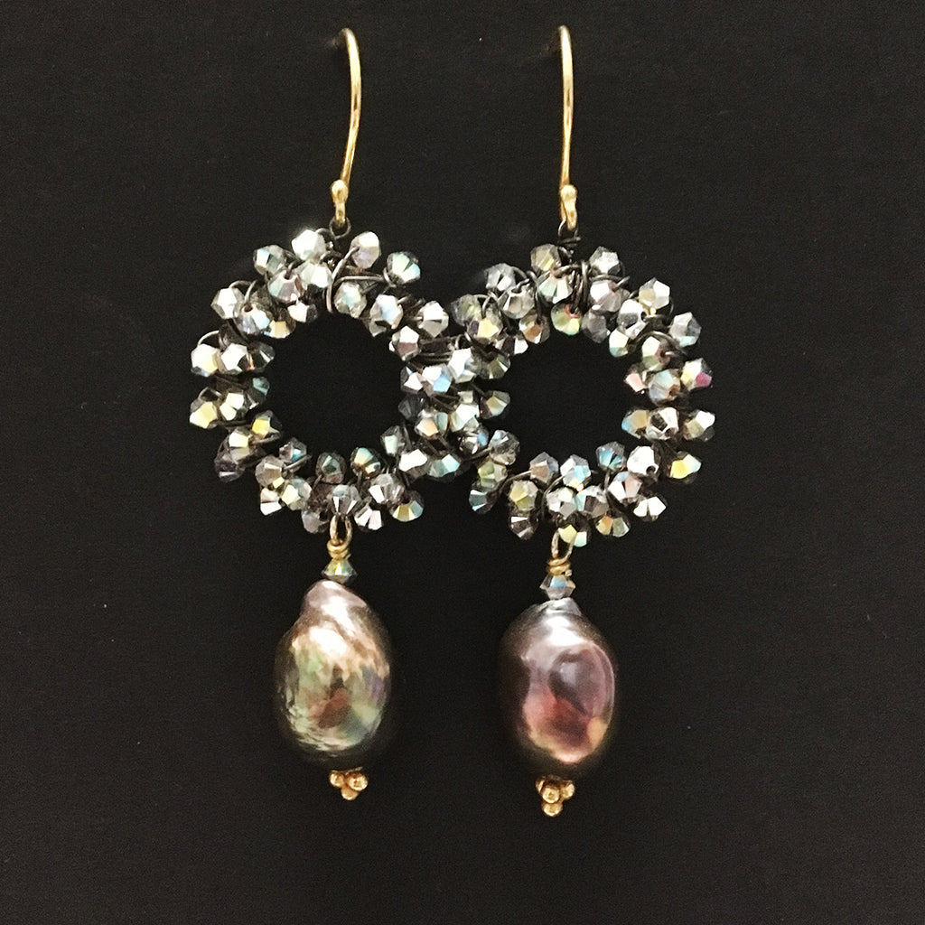 Crystal Encrusted Large Halo and Baroque Pearl Earrings