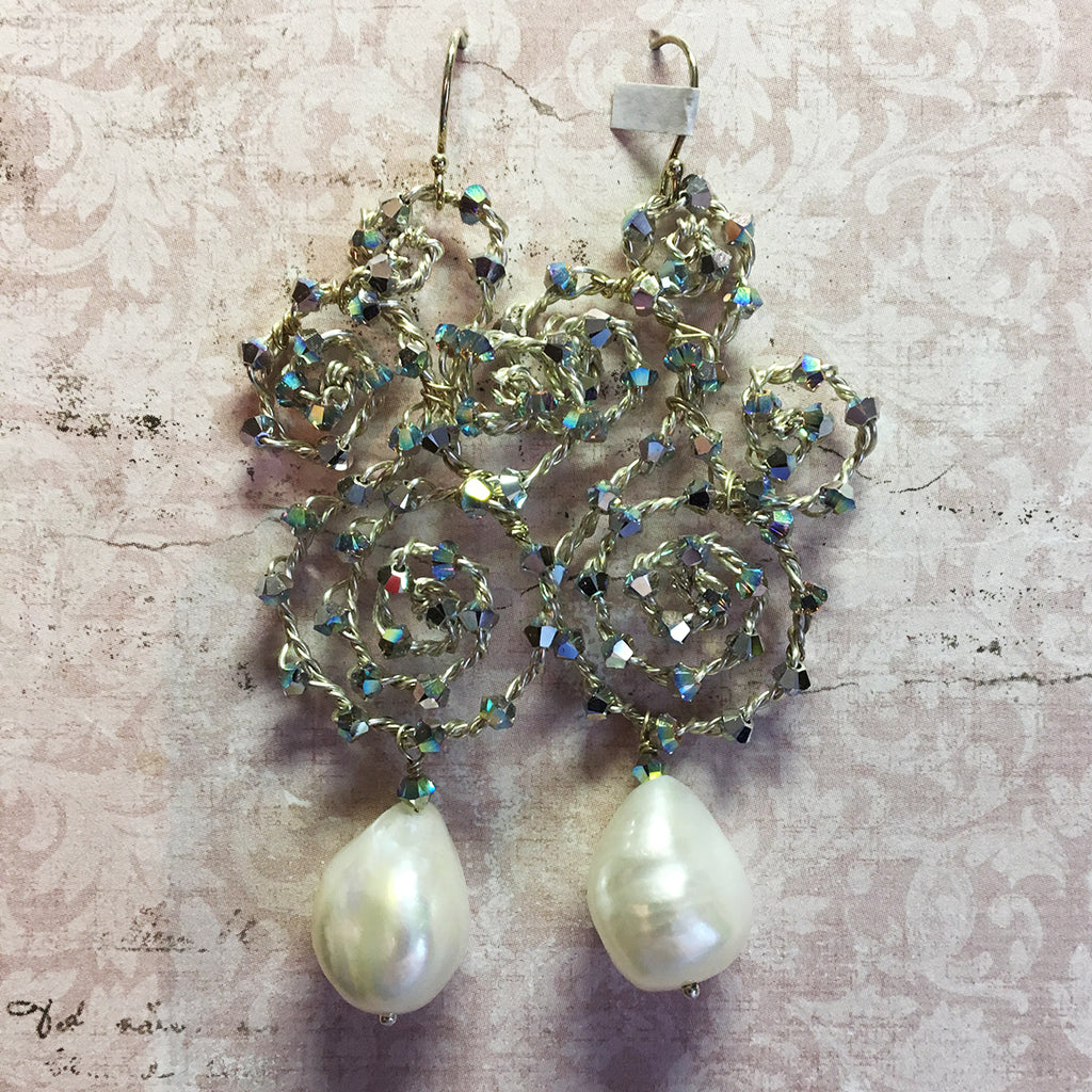 Crystal Scroll and Pearl Earrings