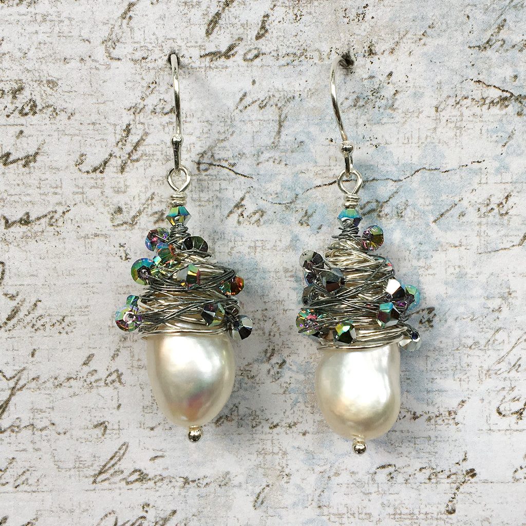 Crystal Wrapped Pearl Earrings