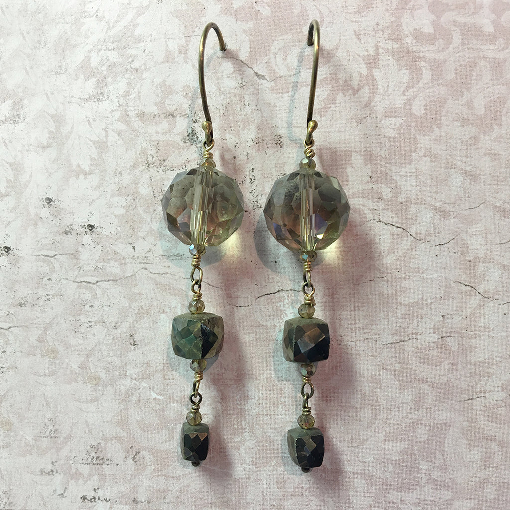 Crystal and Pyrites Earrings