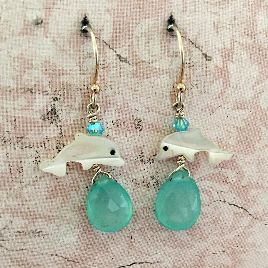 Dolphin and Aqua Chalcedony Earrings