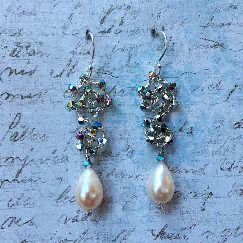 Drop Pearl Earrings on Small Crystal Scroll