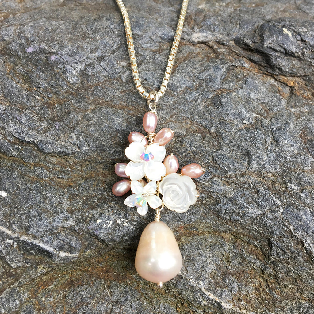 Drop Pearl Flower Cluster Necklace