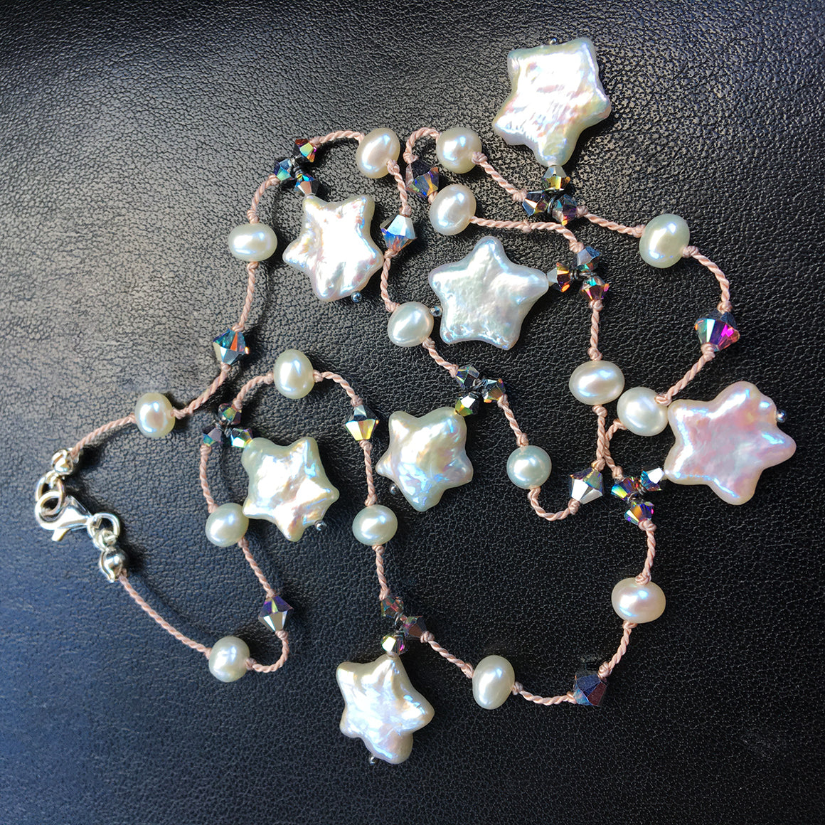 Drop Pearl Star and Crystal Dotted Necklace