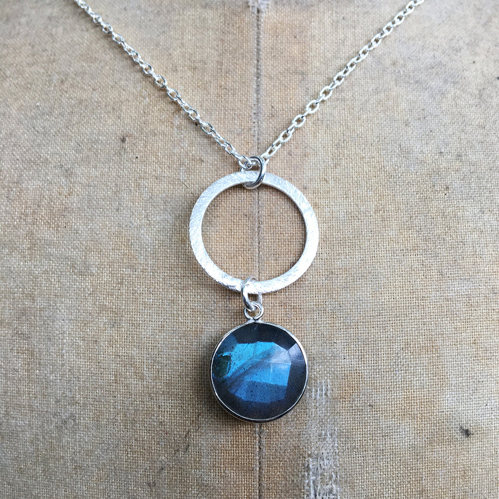 Dropped Labradorite and Halo Necklace