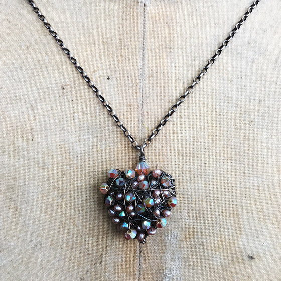 Encrusted Pearl and Crystal Heart Necklace