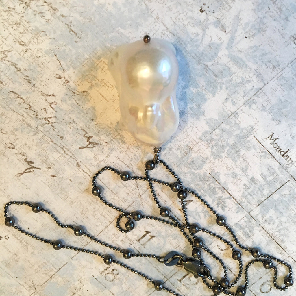 Extra Large Baroque Pearl on Long Oxidised Chain Necklace