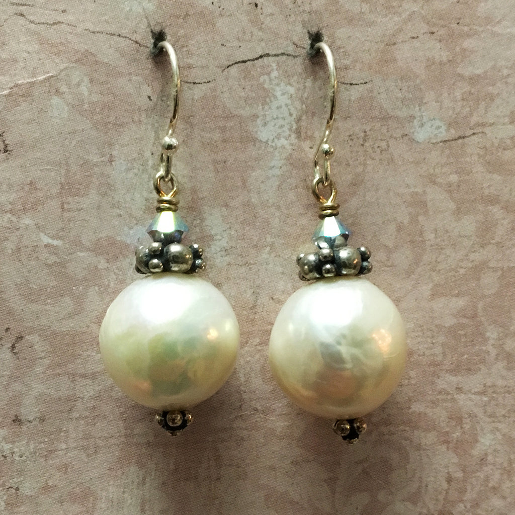 Extra Large Pearls with Silver Collar Earrings