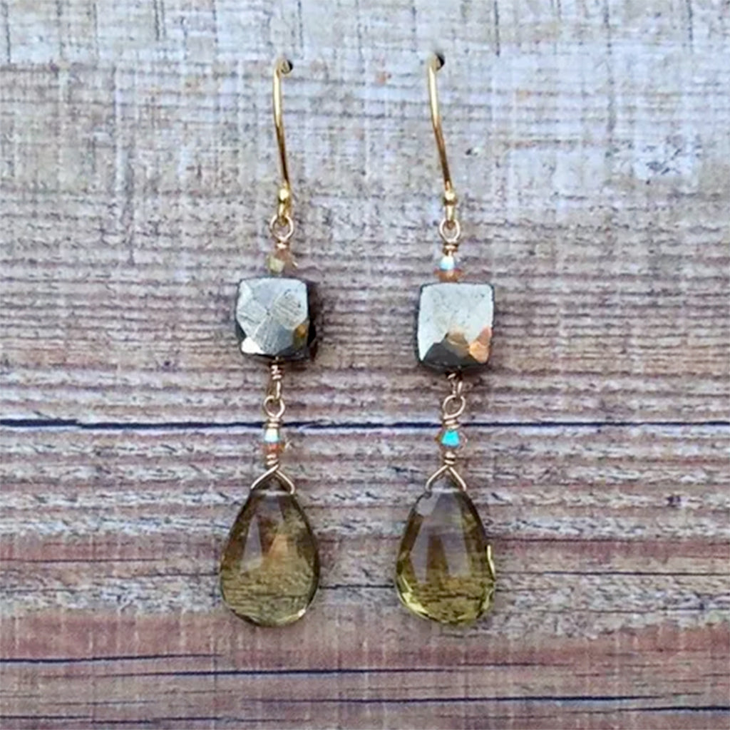 Faceted Pyrite and Beer Quartz Drop Earrings