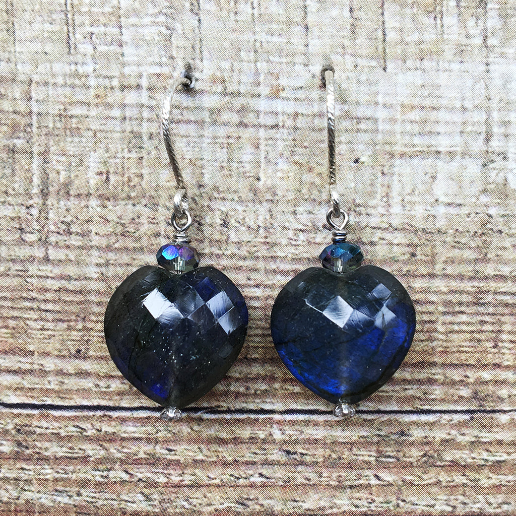 Faceted Heart AAA Quality Labradorite Earrings