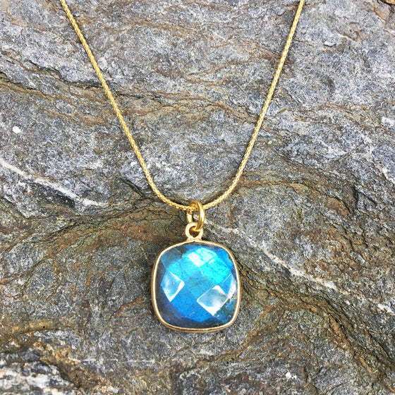Faceted Squared Labradorite Pendant Necklace
