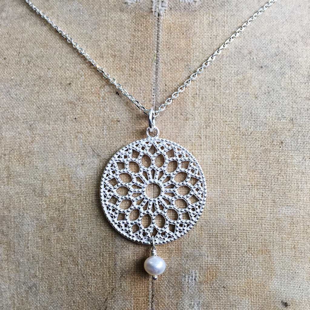 Large Filligree and Drop Pearl Necklace