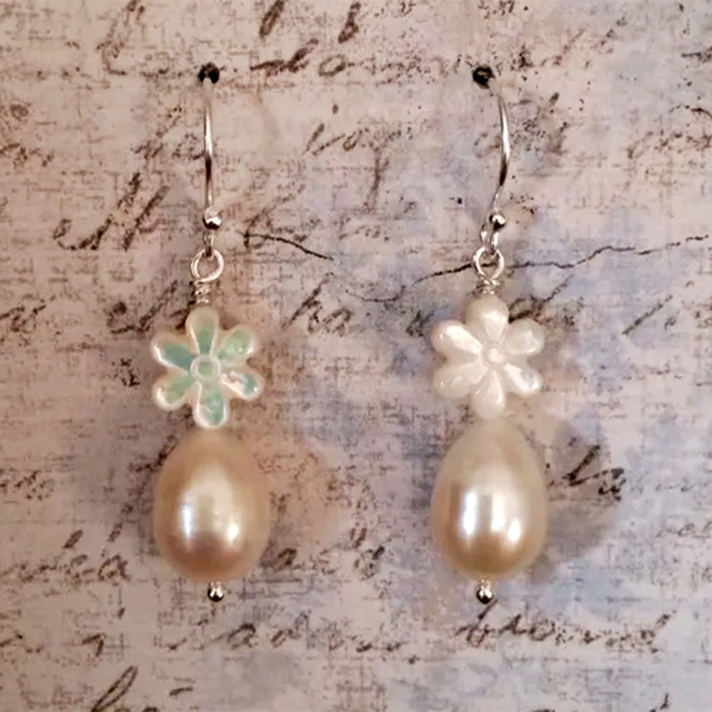 Freshwater Pearl and Mother of Pearl Daisy Earrings on Sterling Silver