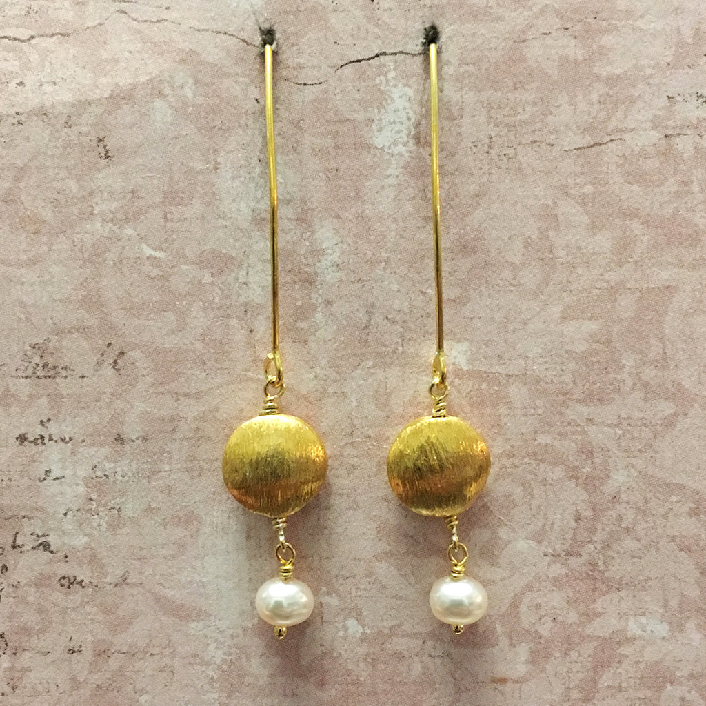 Frosted Gold Disc Bead and Pearl Earrings