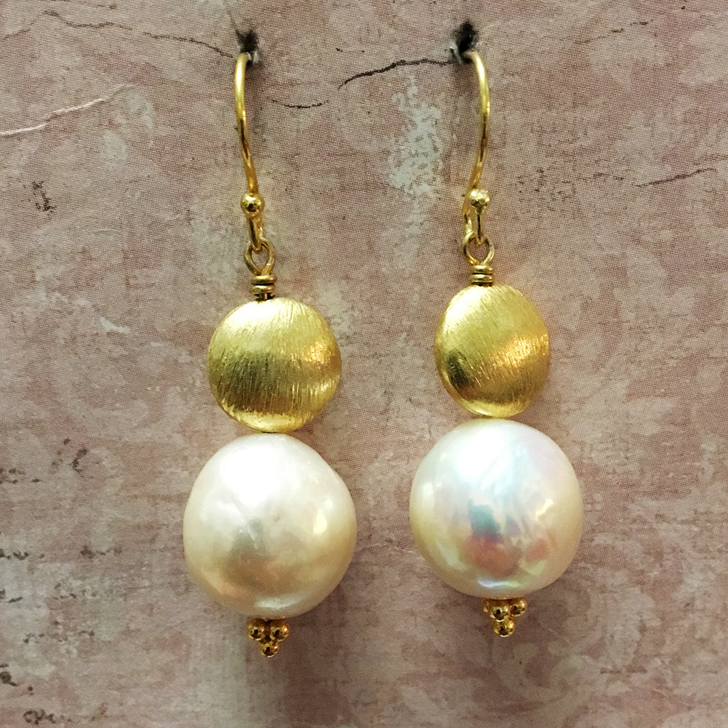 Frosted Gold Disc and Extra Large Pearl Earrings