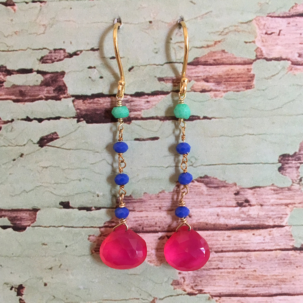 Fuchsia Agate Earrings