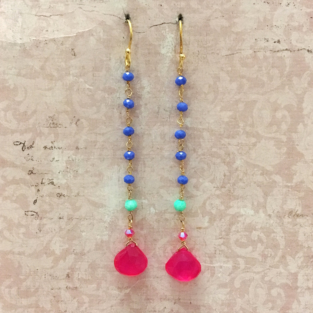 Fuchsia Briolette and Agate Chain Earrings