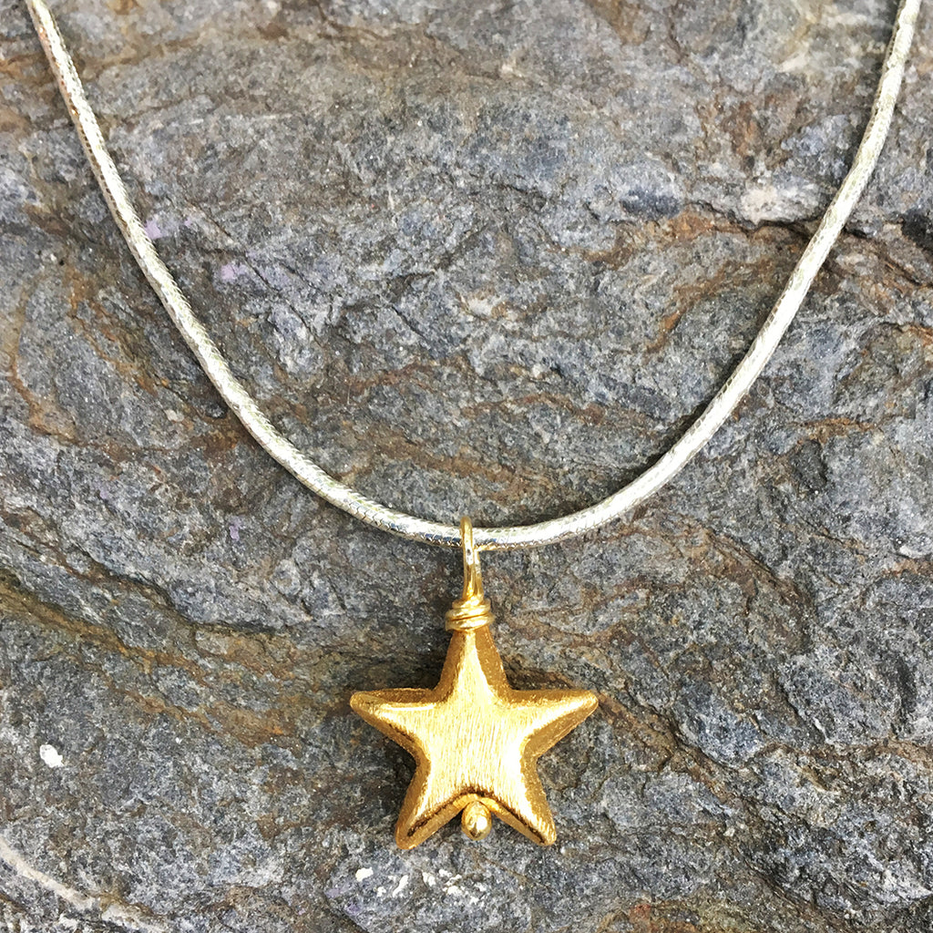 Gold Star on Heavy Silver Chain Necklace