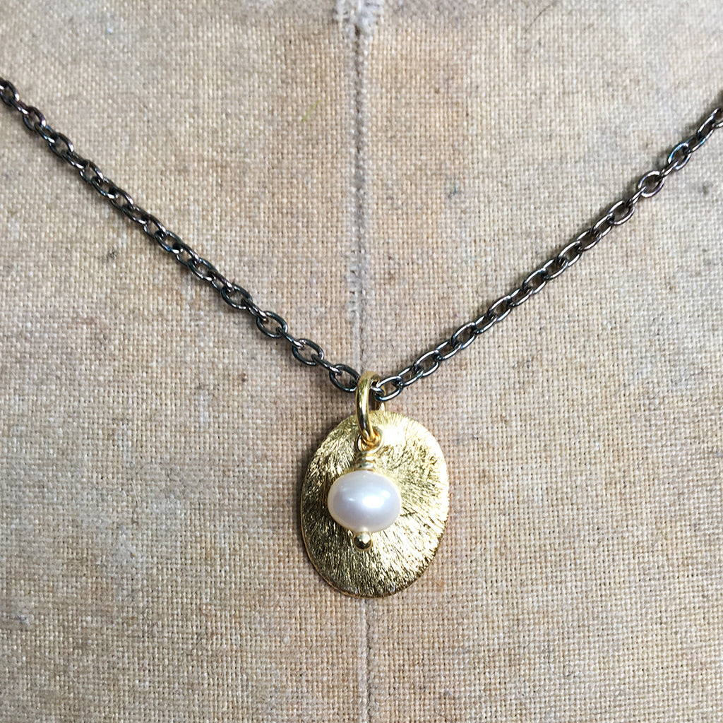Gold Tag with Pearl on Oxidised Chain Necklace