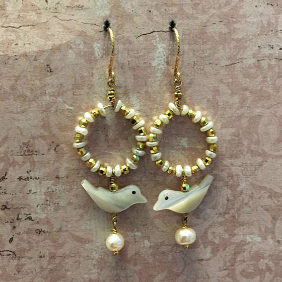 Gold and Pearl Hoop Bird Earring