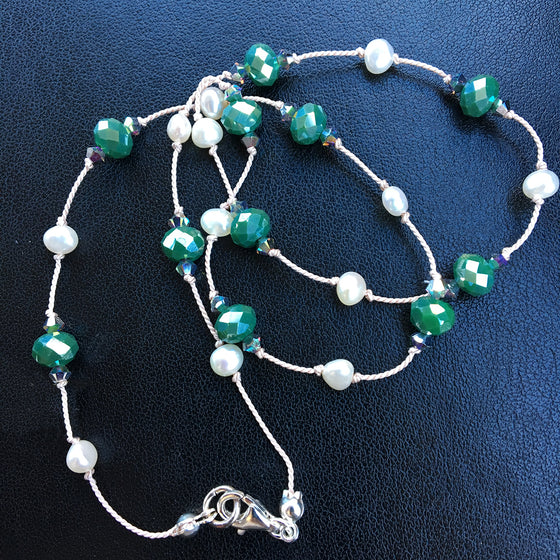 Green Crystal and Pearl Dotted Necklace