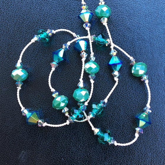 Green and Turquoise Crystal Dotted Necklace