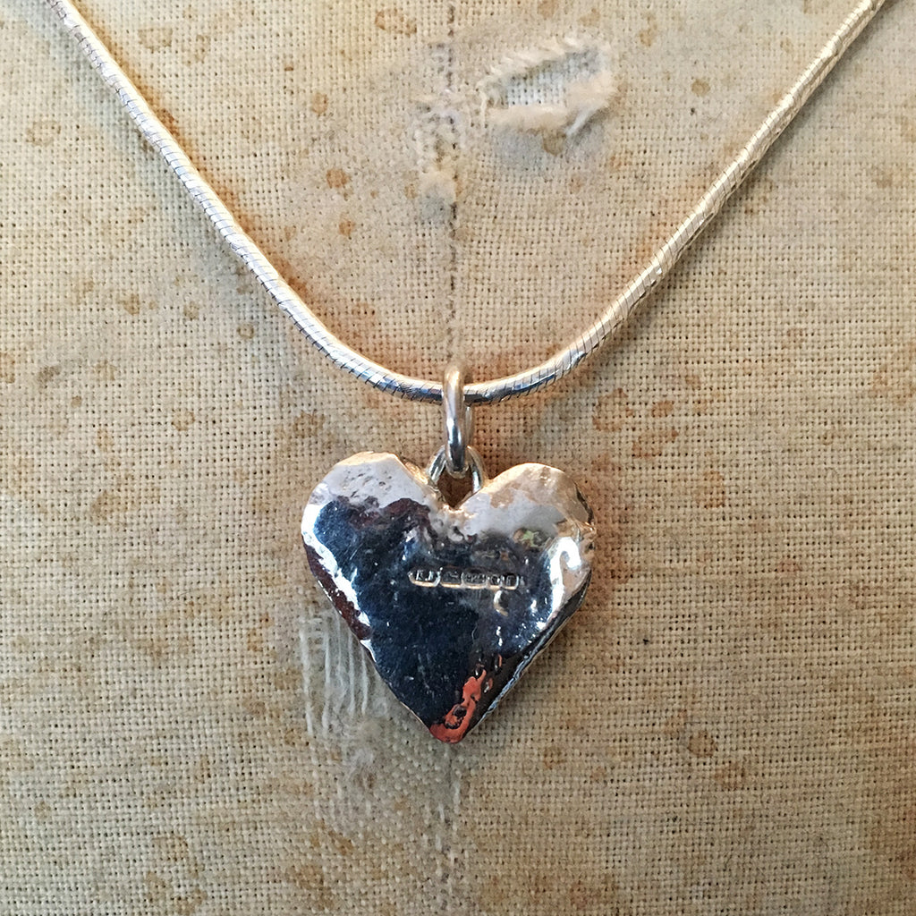 Hallmarked Solid Silver Flat Heart Necklace