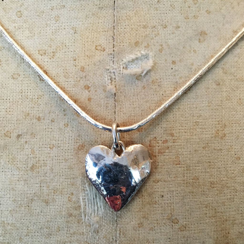 Hallmarked Solid Silver Small Flat Heart Necklace