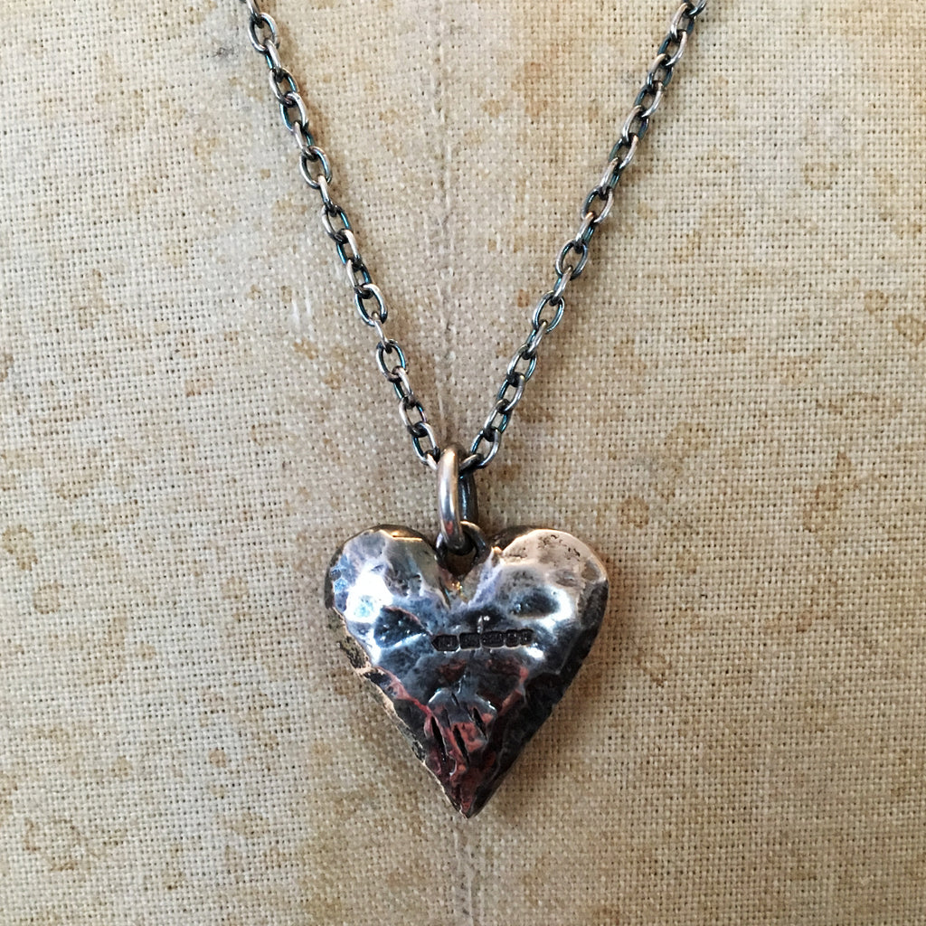 Hallmarked Solid Silver Small Fat Heart Necklace