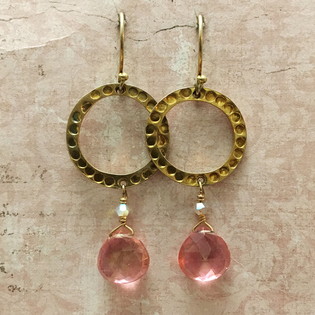 Halo and Pink Topaz Earrings