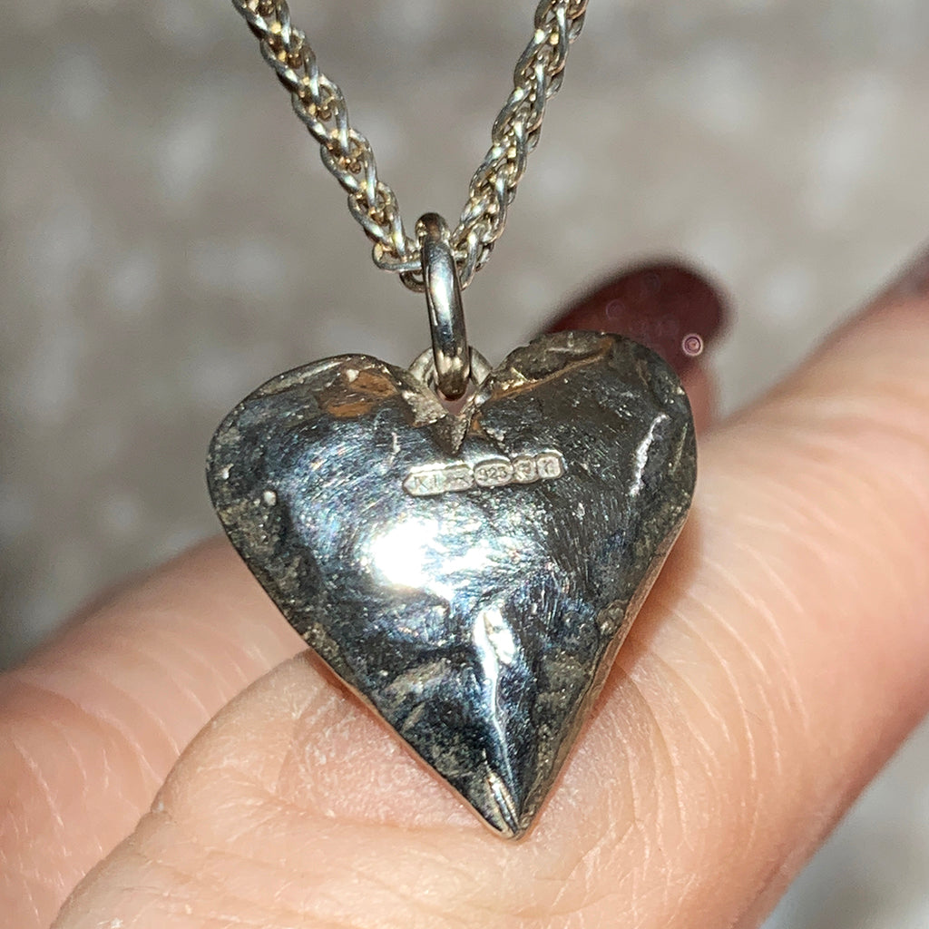 Small Oxidised 3D Solid Silver Heart with Textured Finish Necklace