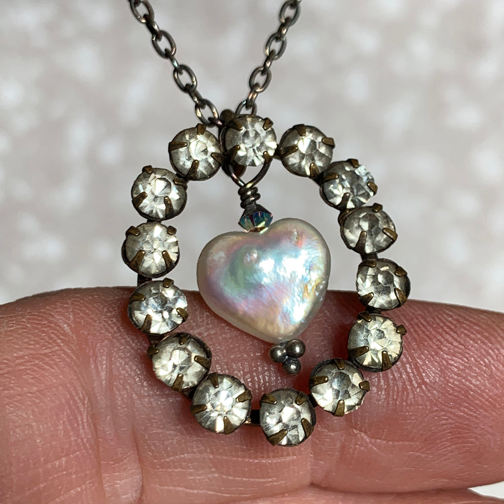 Vintage Diamante Oval with Freshwater Pearl Heart on Oxidised Silver Necklace