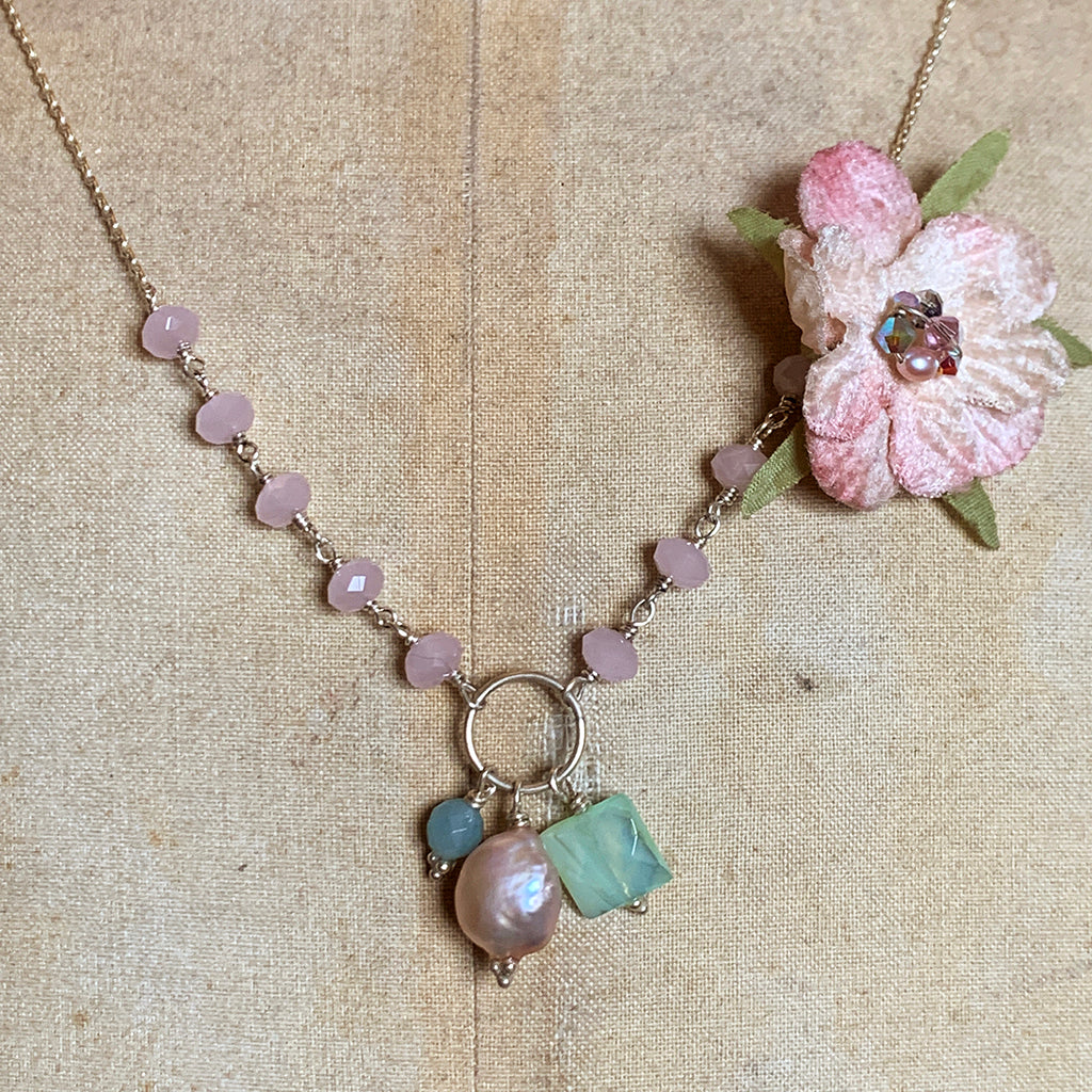 Vintage Pink Flower on a Pink Crystal & Chain Necklace with a Hoop & Cluster of Complementing Pearls, Gems & Beads