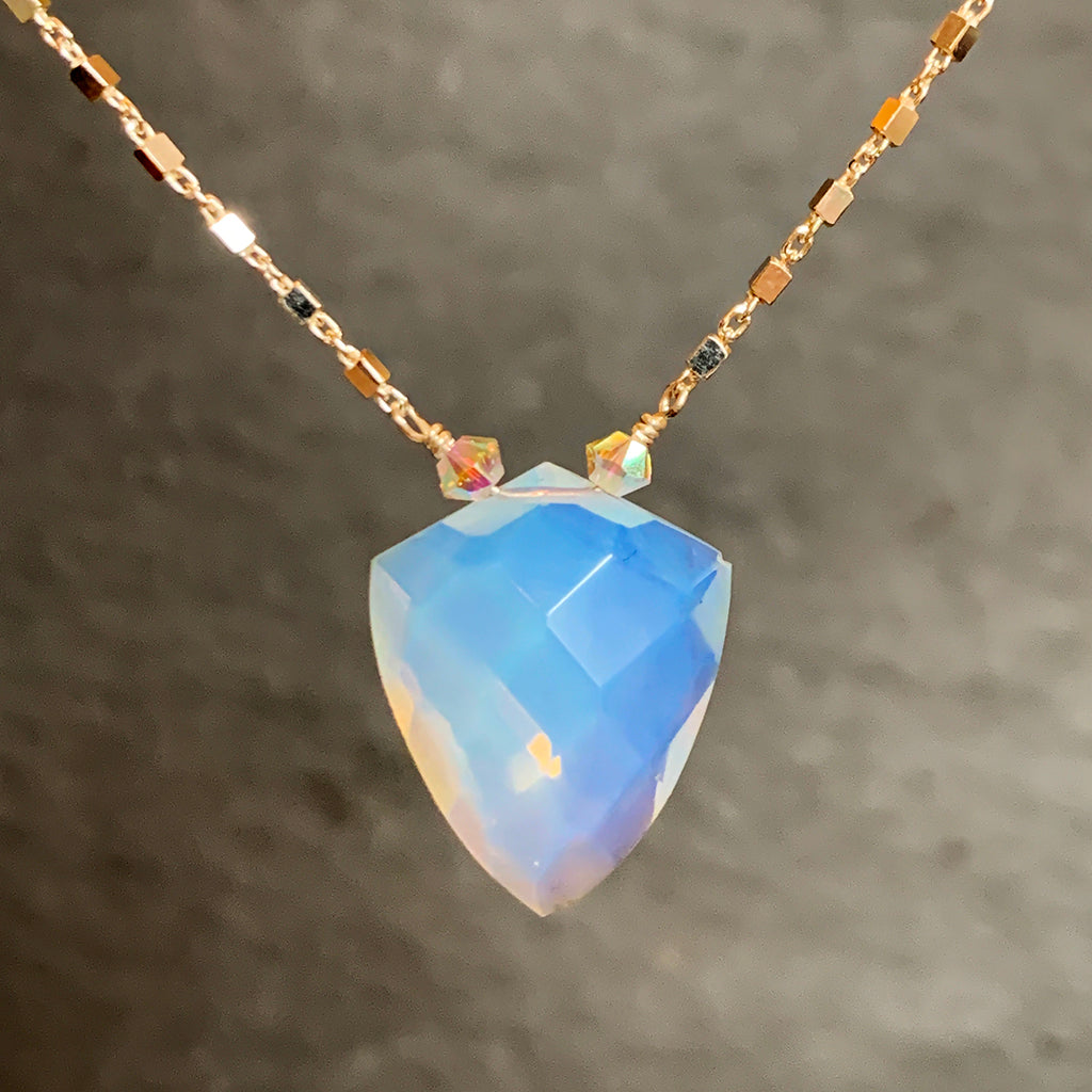 Faceted Opalite Shield on a Square Link Silver Chain Necklace