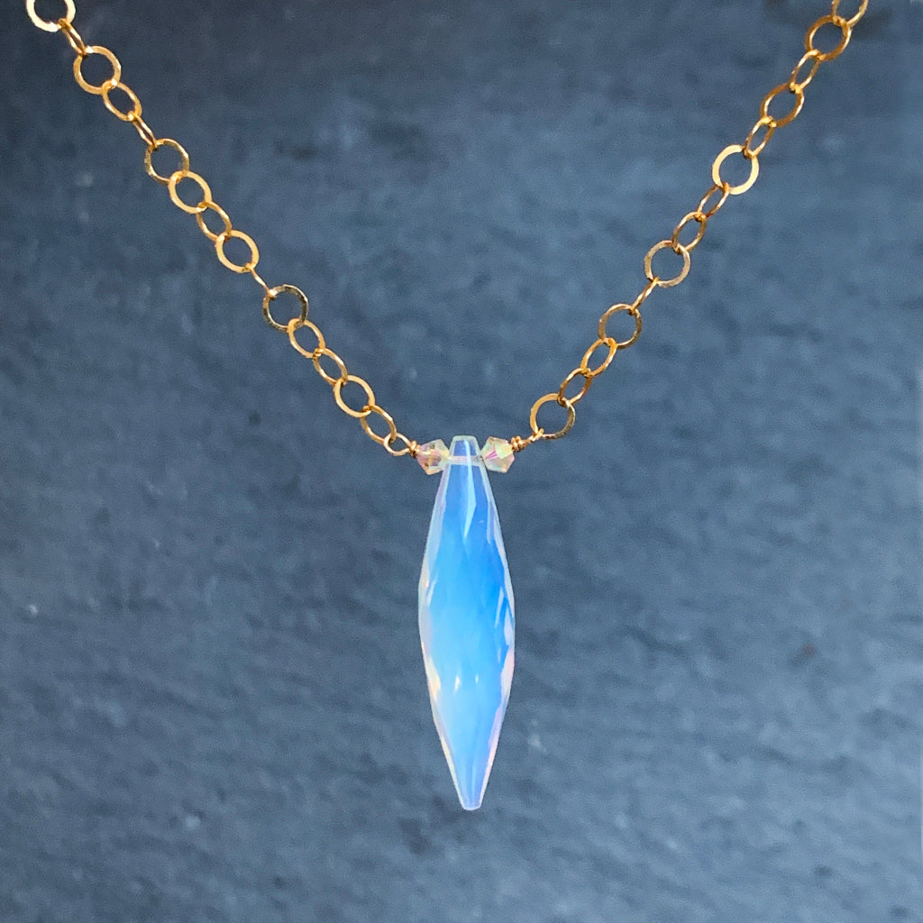 Beautiful Faceted Opalite on a Round Loose Link Gold Filled Chain