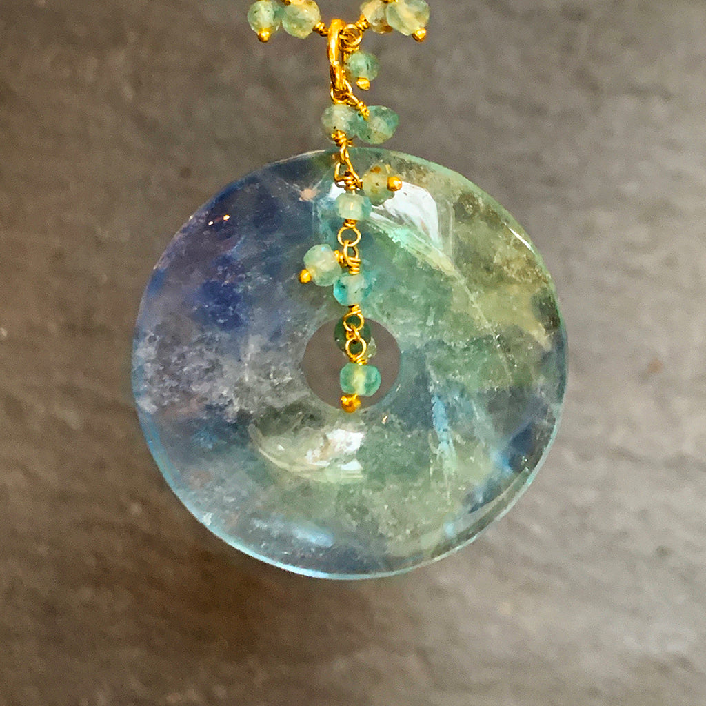 Large Flourite Disc on a Multi Apatite Stone Chain Necklace