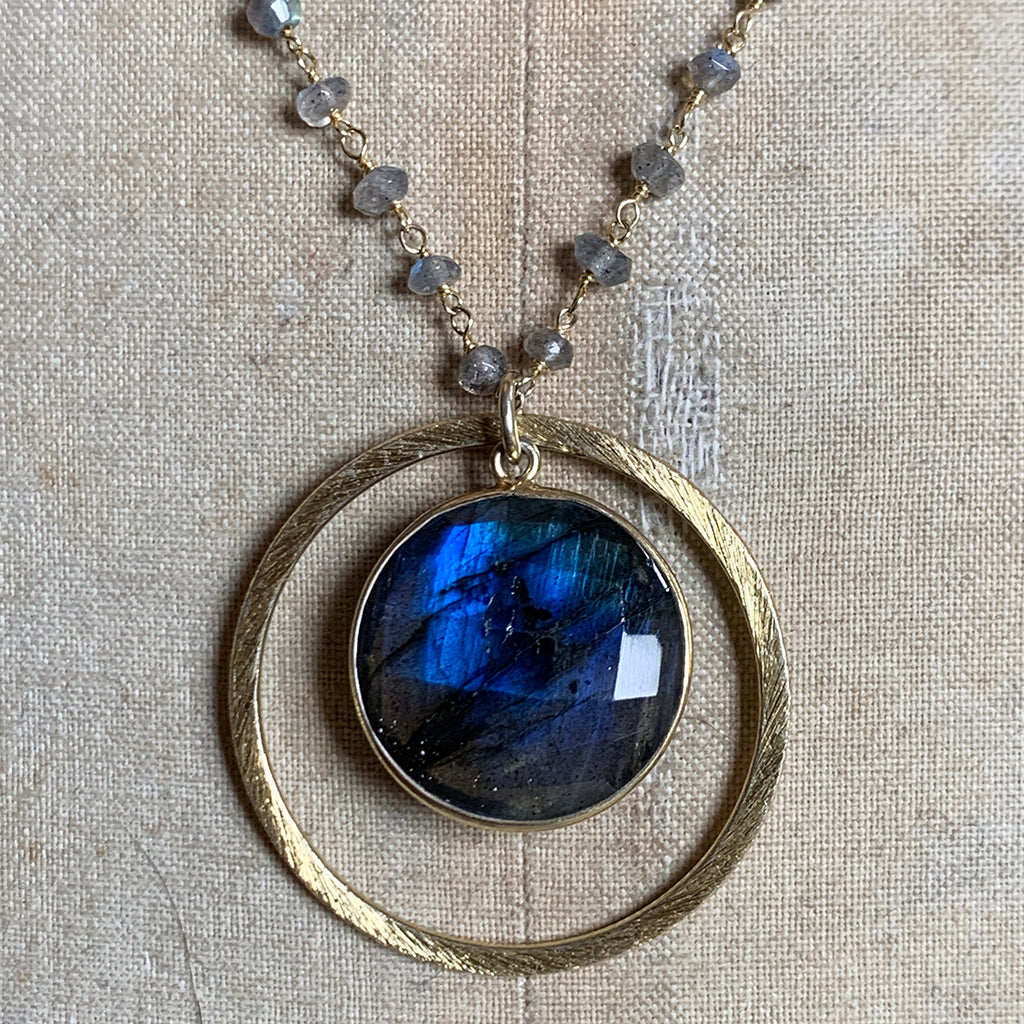 Stunning Round Labradorite in Gold Halo on Labradorite Stone Chain Necklace