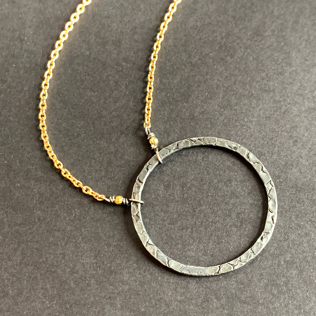 Oxidised Silver Halo on Gold Chain Necklace