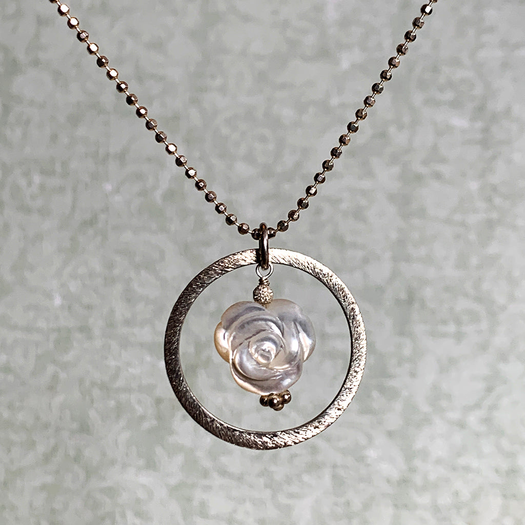 Mother of Pearl Rose in Oxidised Silver Halo on Beaded Chain Necklace