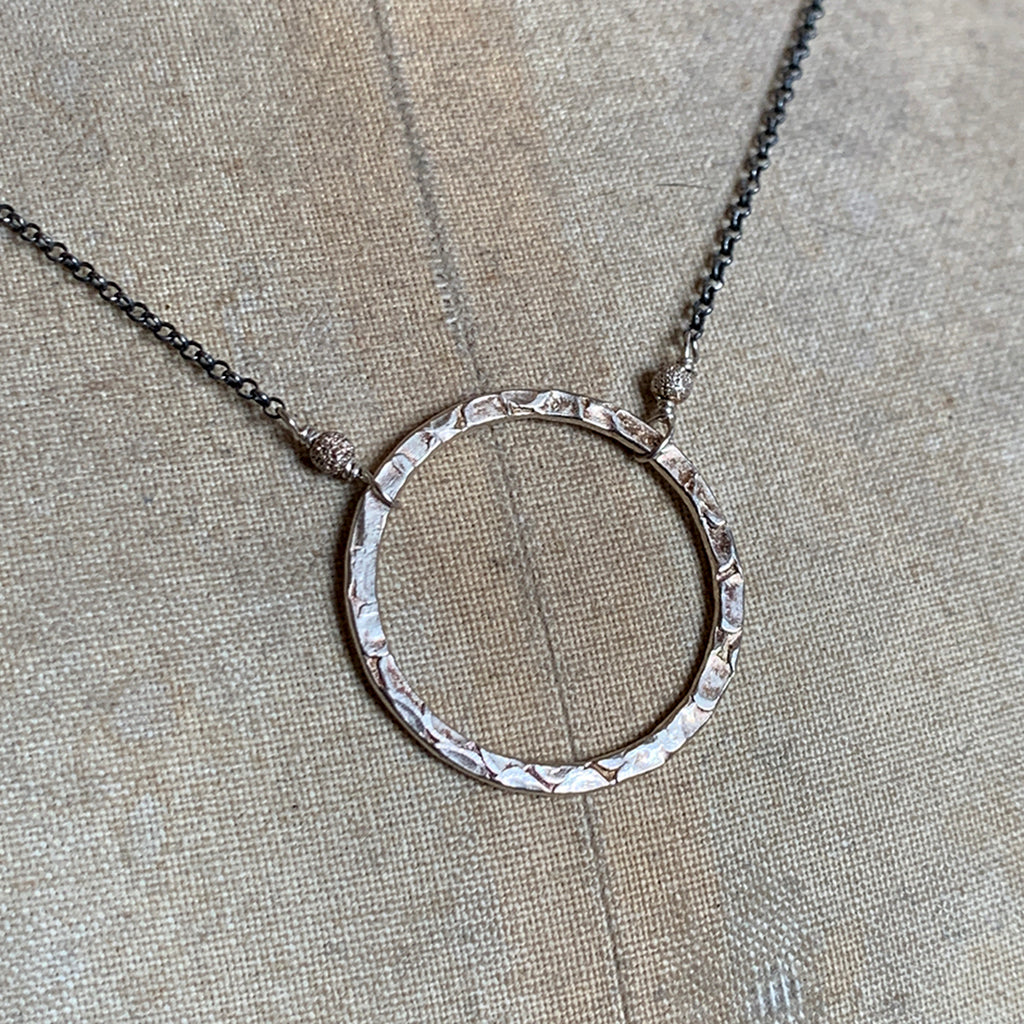 Medium Silver Halo on Oxidised Silver Chain Necklace